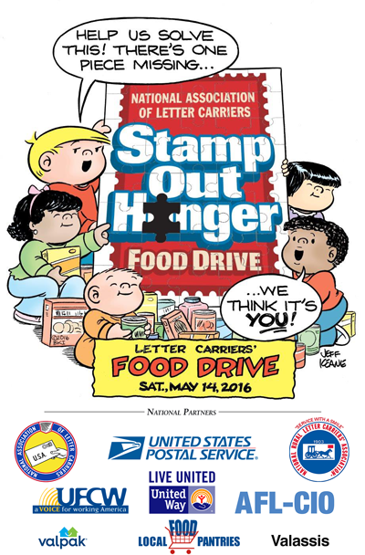 Help mail carriers Stamp Out Hunger next Sat., May 14, 2016