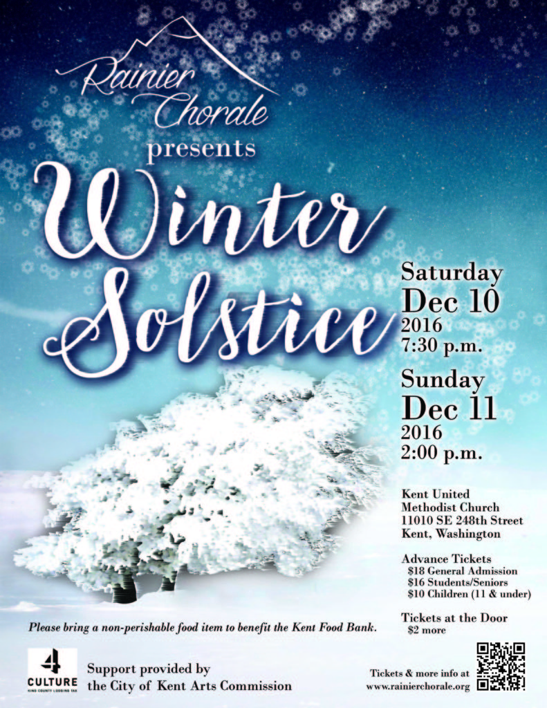 Kent Event: Rainier Chorale Presents Winter Solstice, Dec. 10-11