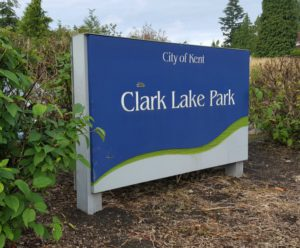 Kent Parks: Clark Lake Park entrance on 240th on Kent's East Hill.