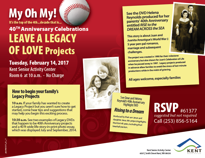 Kent 50+ Program to Host 'Leave a Legacy of Love' Workshop on Valentine's Day. #kentevent