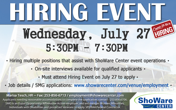 Kent Jobs: ShoWare Center is hiring for part-time, event-driven positions.
