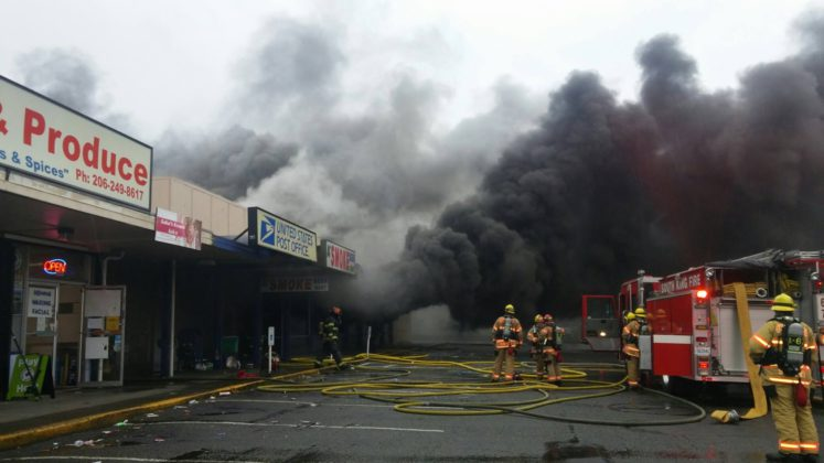 Dollar Tree Strip Mall on Pacific Highway sustained a three-alarm fire on Sun., Nov. 13, 2016.