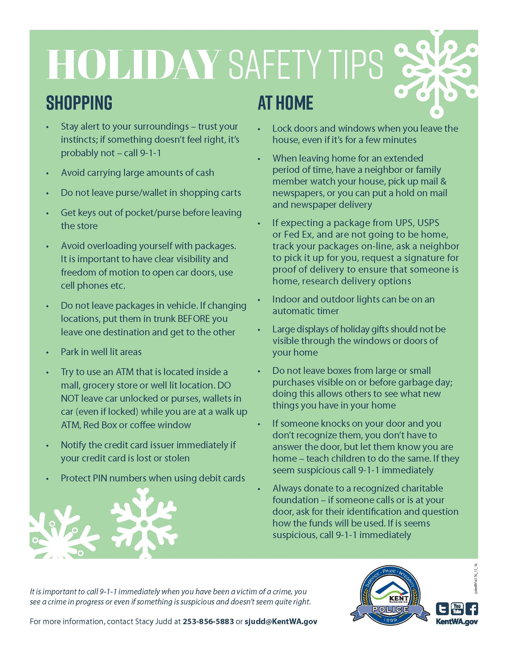 Stay Safe this Holiday Season with Safety Tips from the City of Kent, Washington