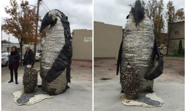 Father and Son Penguin Come to Downtown Kent