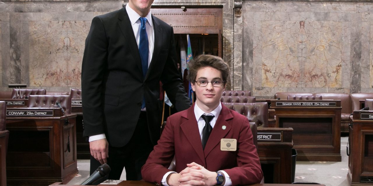 Kent-Meridian Student Serves as Page for Sen. Joe Fain