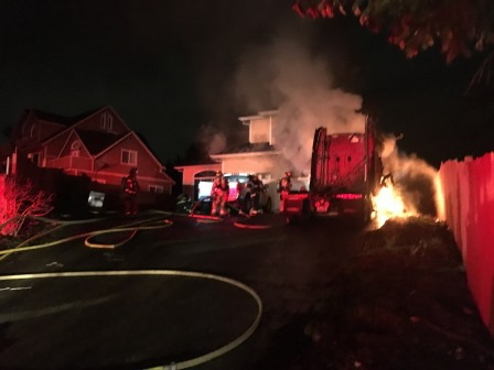 Fire from Semi-Truck Ignites Kent Home
