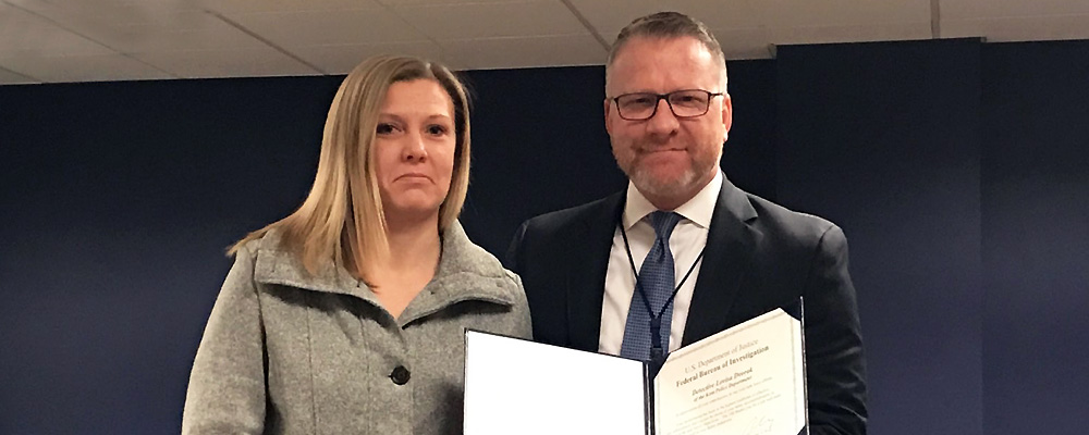 Kent Police Detective Lovisa Dvorak receives award from FBI for work on Human Trafficking