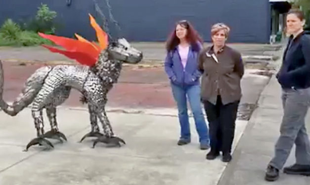 VIDEO: New sculpture 'The Guardian' installed in downtown Kent Wed.