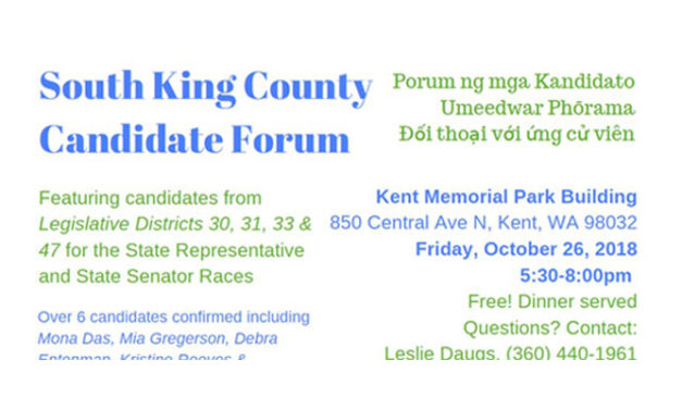 South King County Candidate Forum will be TONIGHT in Kent