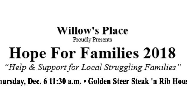 Willow's Place 'Hope for Families 2018' will be Thurs., Dec. 6