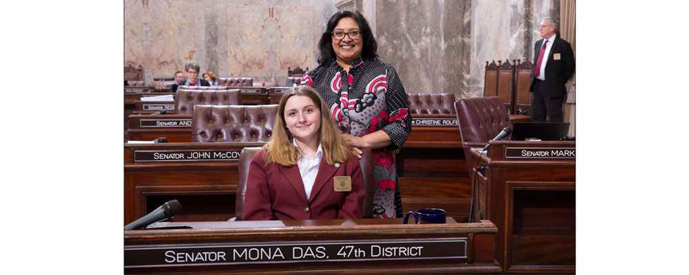 Abbygail Mena serves as page in State Senate