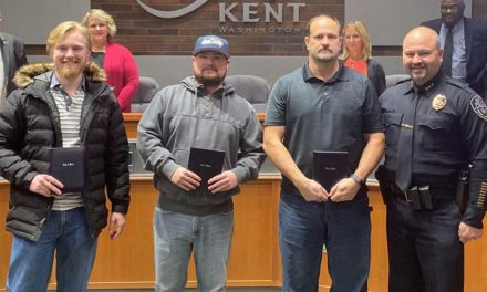 Three Public Works employees honored at Kent Council meeting
