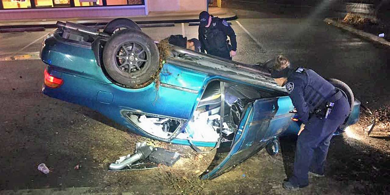 After police pursuit, driver crashes, rolls over car in Kent on Friday the 13th