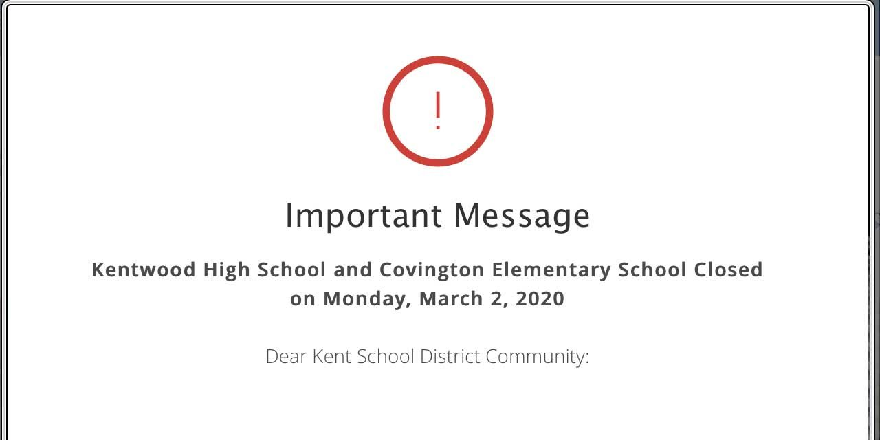 Due to coronavirus concerns, Kentwood High, Covington Elementary will be closed Mon., Mar. 2
