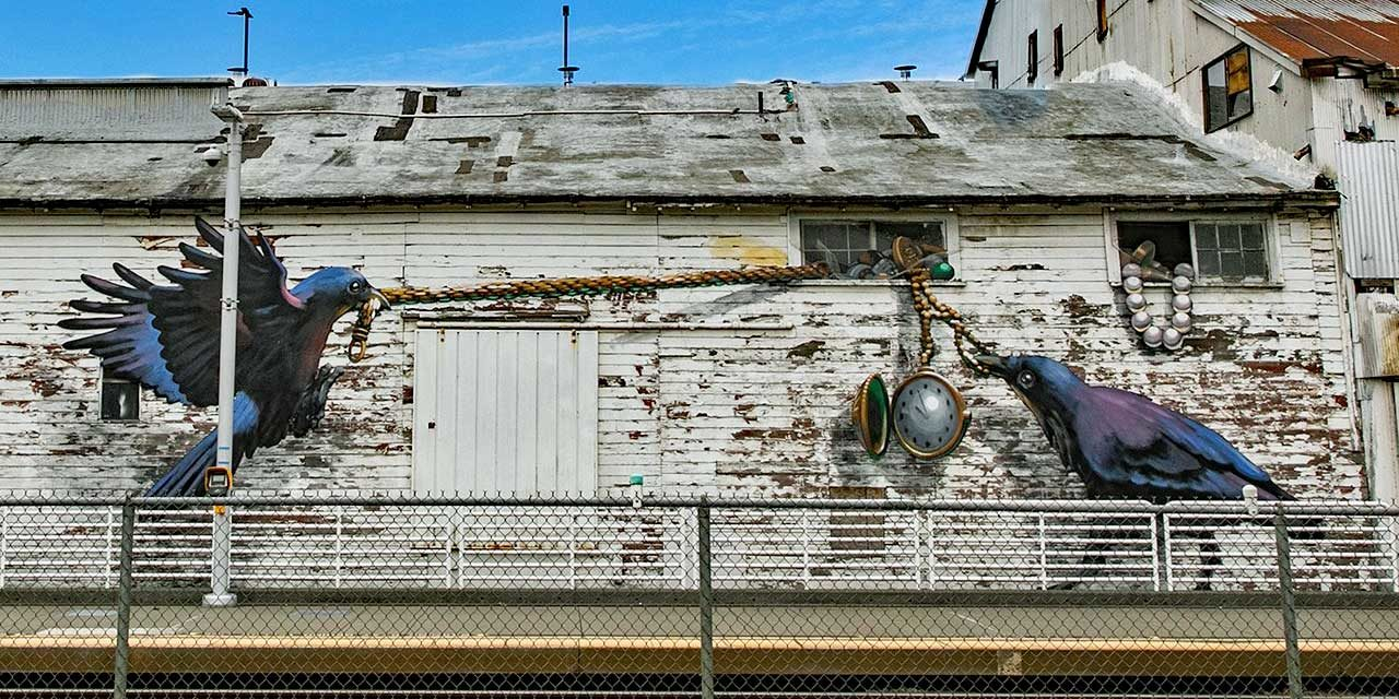 Whimsical new art by Will Schlough pops up on historic building in downtown Kent