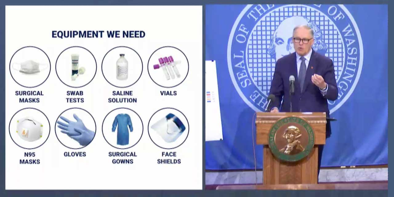 Gov. Inslee pleas for help to make more Personal Protective Equipment