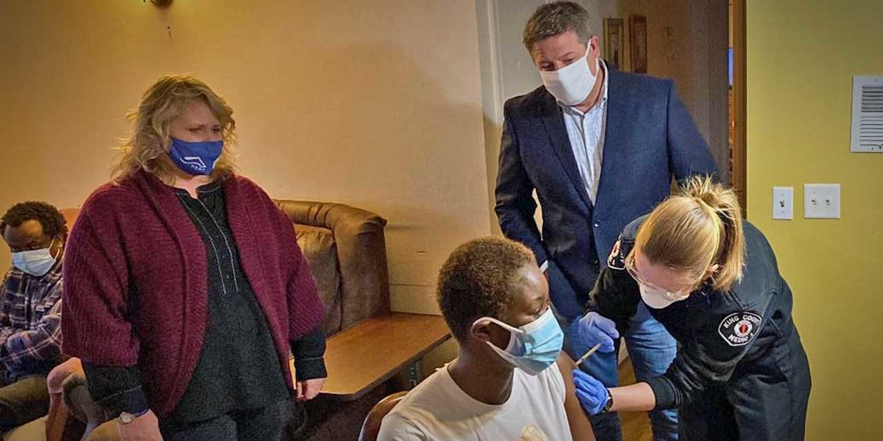 Mobile COVID-19 vaccination team, local electeds visit adult family home in Kent