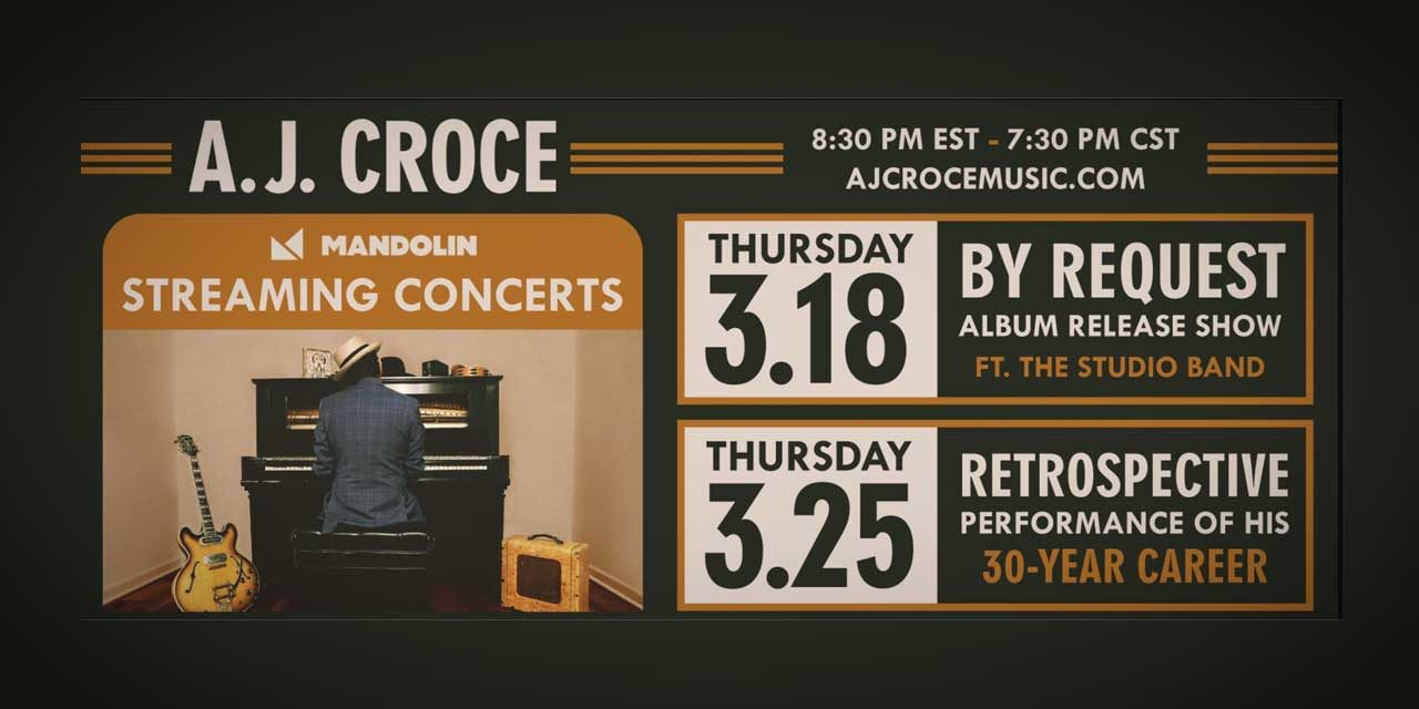 Kent Spotlight Series will feature two A.J. Croce livestream concerts in March