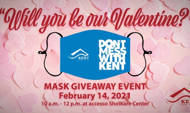 City of Kent giving out free #Don'tMessWithKent Face Masks on Valentine's Day