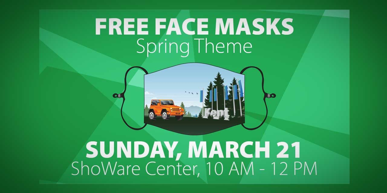 FREE Spring-themed Face Masks will be given out on Sunday, Mar. 21