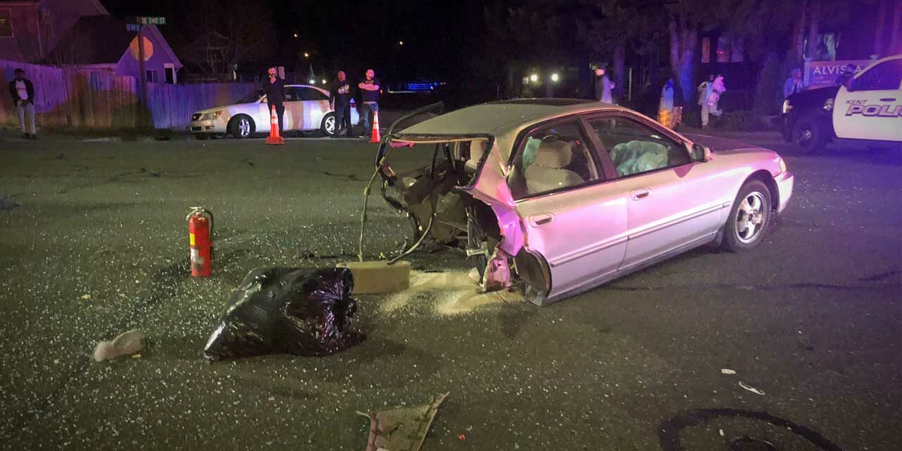 Serious accident shears car in half in Kent Thursday night